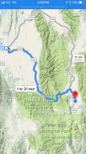 Today's route from Phayao on left to Chiang Muan on the right.